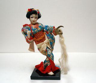 Antique Japanese Geisha Doll with Samurai Hat Warrior Helmet Pre WWII