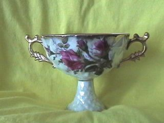 ROYAL SEALY CHINA PEDESTAL CUP JAPAN ROSE PATTERN 2 HANDLED MOTHER OF