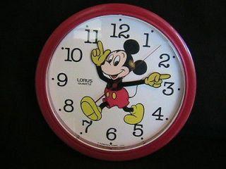 Disney Mickey Mouse Wall Clock Japan Lorus Quartz Red Moving Hands EUC