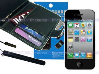 Newly listed Black Leather Case Wallet+Screen Protector+Styl​us for