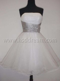 White/Silver satin bridal party prom dress evening dress SIZE 6 8 10
