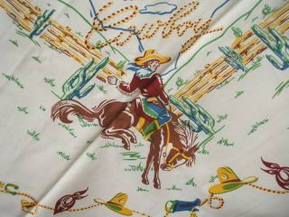 Vintage Style Western Tablecloth/Cow​boys Bucking Horses