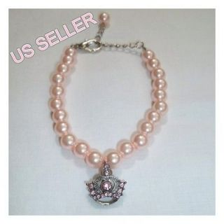 Pink Pearl Dog Cat Pet Necklace With Crown Charm Dog Collar Yorkie