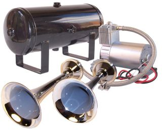 dual chrome train horn kit w 150 psi sealed air