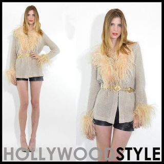 VTG 60s mod space age Blush pink Ostrich Feathers ultra cozy cardigan