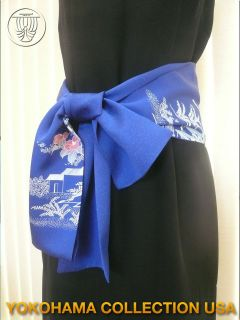 Japanese Kimono Flower Pattern Silk Fabric Belt/ Scarf/ Royal Blue