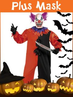 MENS HALLOWEEN SCARY SINISTER EVIL CLOWN CIRCUS KILLER FANCY DRESS