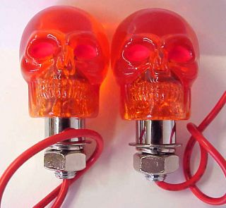12 v amber skull marker lights pair rat rod new
