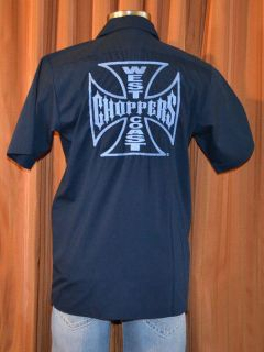 WEST COAST CHOPPERS JESSE JAMES NAVY BLUE MOTORCYCLE WORK SHIRT MENS