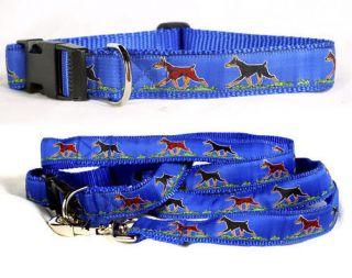 doberman pinscher collar leash set blue by dog ink time