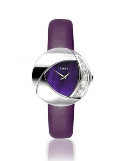 Seksy Sekonda Ladies Eclipse Crystal Ston Purple Patent Leather Strap