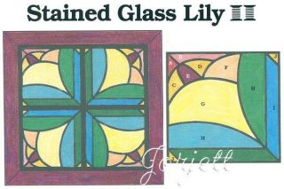 Stained Glass Lily Quilt Block & Wall Quilt quilting pattern