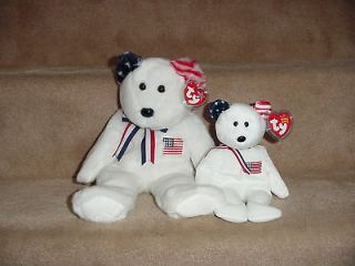 TY BEANIE & BUDDY WHITE AMERICA BEARS WITH USA FLAG ON CHEST