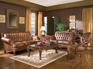 TRADITIONAL GENUINE TUFTED LEATHER SOFA COUCH SET   NEW LIVING ROOM