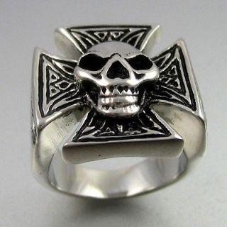 Biker Bold Black Silver Stainless Steel Skull Cross Mens Ring Size 10