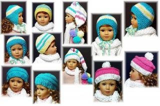 Hats and Scarf Bulky Knit PATTERN for 18 Kidz N Cats Dolls Kdys