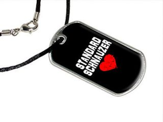 Standard Schnauzer Love   Black   Military Dog Tag Black Satin Cord