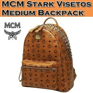 Brand New Authentic MCM Stark VISETOS BACKPACK Medium NWT_Cognac