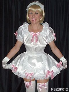 FRILLY SATIN DRESS BOWS SISSY MAID TRANSGENDER CROSSDRESSER TV S XXL