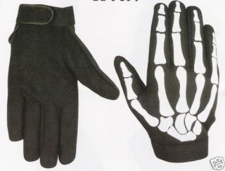 biker skull bone skeleton goth black mechanics gloves