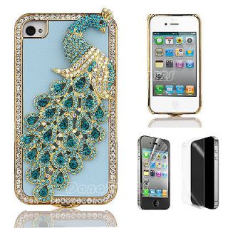 Blue Crystal 3D Peacock Bling Diamond PU Leather Case Cover for iPhone