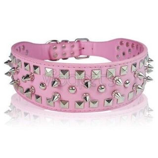 Newly listed 19 22 Pink Leather Spiked Dog Collar Large spikes L
