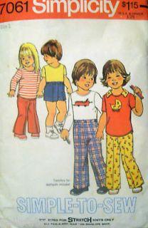 Simplicity 7061 Pattern Toddler T shirt Top Shorts Pants 1T