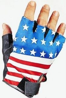 BLACK LEATHER USA AMERICAN FLAG STARS & STRIPES FINGERLESS GLOVES