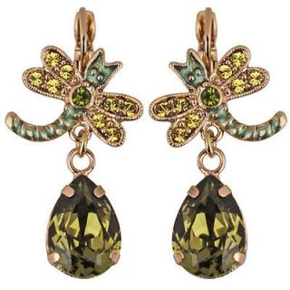 KIRKS FOLLY DRAGONFLY TEARS LEVERBACK EARRINGS goldtone / olivine