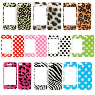 1X Full Body Sticker Kit Cover Case Skin+Home Button For iPhone 4 4S