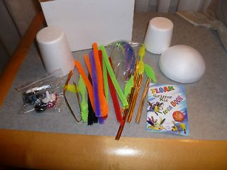 KIDS CRITTER CRAFT KIT w/ FOAM PIECES FEATHERS EYES COLORFUL PIPE
