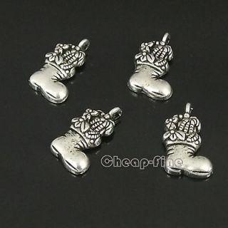 Lots 35PCS Tibetan Silver Christmas Stockings Charm Pendant Jewelry