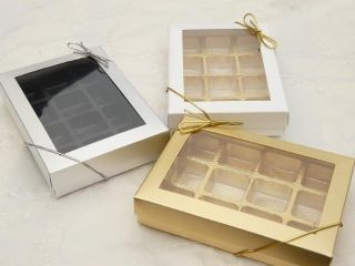 10 Large GOLD SILVER WHITE Window Gift Boxes Trays Bows STATE COLOUR