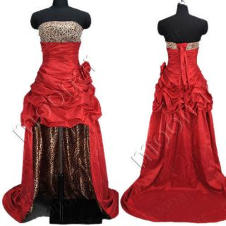 Stock Ruched Leopard Long Strapless Dress Prom Ball Formal Gowns