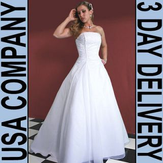 Strapless Organza hand beaded Wedding Dress Gown Size 06 White   Brand