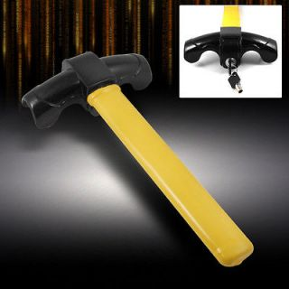 ANTI THEFT TOP MOUNT BLACK/YELLOW STRONG STEEL STEERING WHEEL LOCK KIT