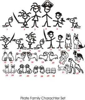 Stick People Family Vinyl Sticker, Family Car Stickers, Bumper Decal