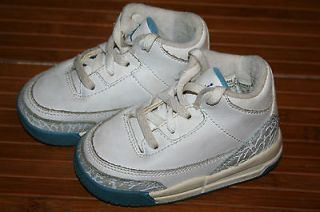 NIKE JORDAN BABY/TODDLER ATHLETIC SHOES WHITE/GRAY/BLUE HIGH TOP SIZE