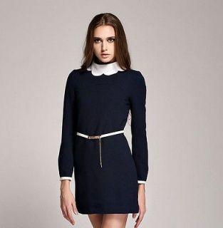 Alice in Wonderland Dress with Belt Navy Blue Fashion Women Dress