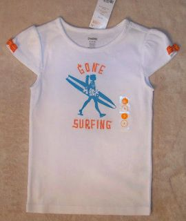 3T Gymboree TROPICAL BLOOM White Gone Surfing Cap Sleeve T Shirt Top
