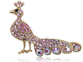 Swarovski Crystal Elements Rose Pink Radiant Peacock Bird Fashion Pin