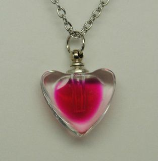 GLASS HEART CREMATION URN NECKLACE GLASS CREMATION JEWELRY PET URN TOO
