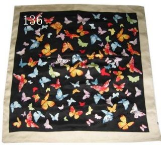 100% Pure Silk Painting Square 35 Scarf Wrap Shawl Butterly Black