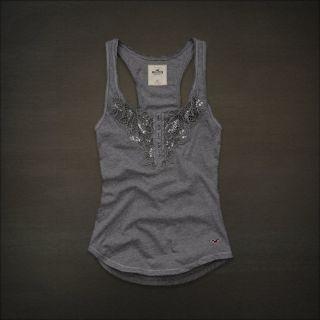 Hollister Women Grey Gray Crochet Sequin Tank Top Cami XS NWT