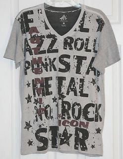 Ai AMERICAN IDOL~Mens Gray S/Sleeve V Neck Graphic T Shirt~Size