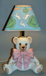 Vintage PINK Teddy Bear Pottery Lamp Retro Rabbit Shade Baby Nursery