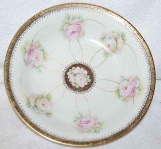 antique bavaria pink roses satin gold encrusted bowl time left