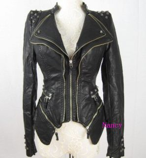 New Womens Punk Spike Studded Shoulder PU Leather Jacket Zipper coat