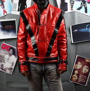 Michael Jackson Red Leather Thriller Jacket Replica Free Glove