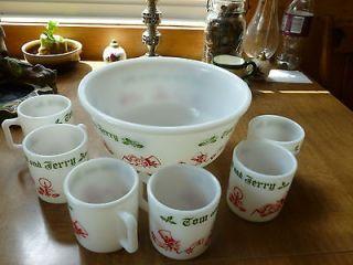 VINTAGE TOM AND JERRY EGG NOG SET 6CUPS/BOWL MILK GLASS ANCHOR HOCKING